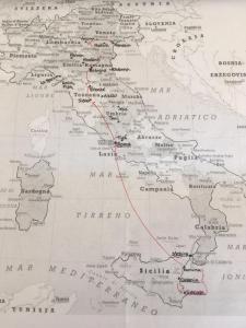Kaart van Italie met aangegeven reisroute